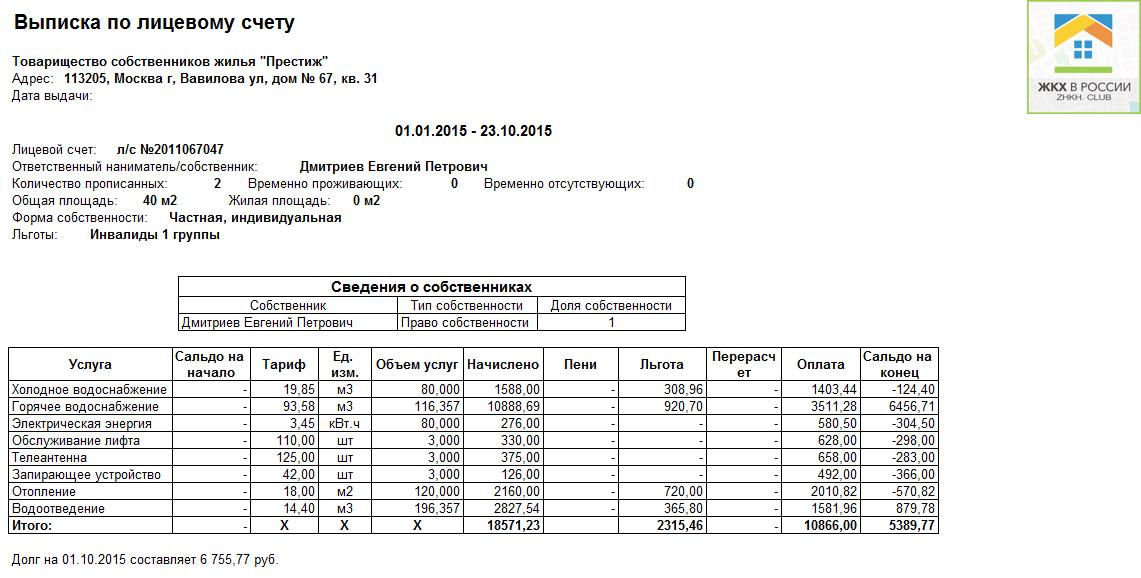 finansovo licevoj schet 1 - Как узнать есть ли долги по коммуналке